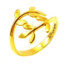 Кольцо Лавровая веточка из позолоченного серебра