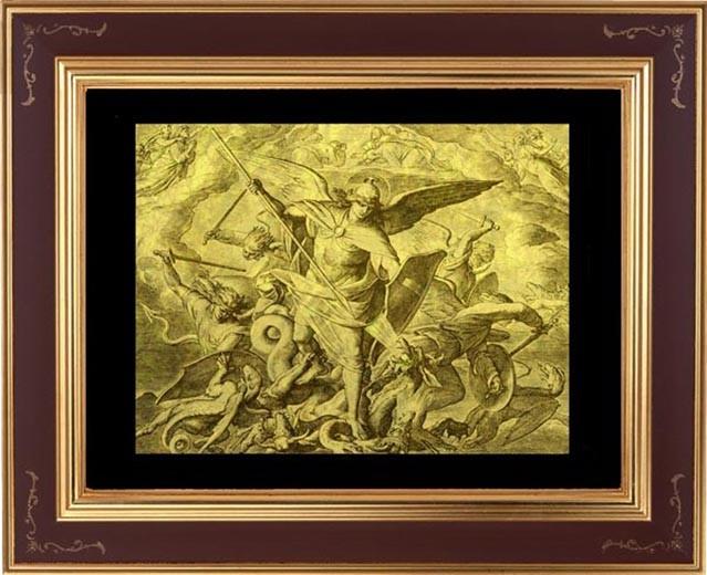 Гравюра из золота Победа Михаила над драконом