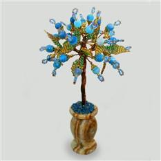 Дерево любви из голубого агата в вазочке из оникса