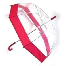 Прозрачный зонт-купол с красной окантовкой