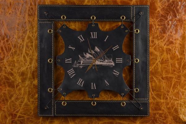 Черные часы из кожи Сидней