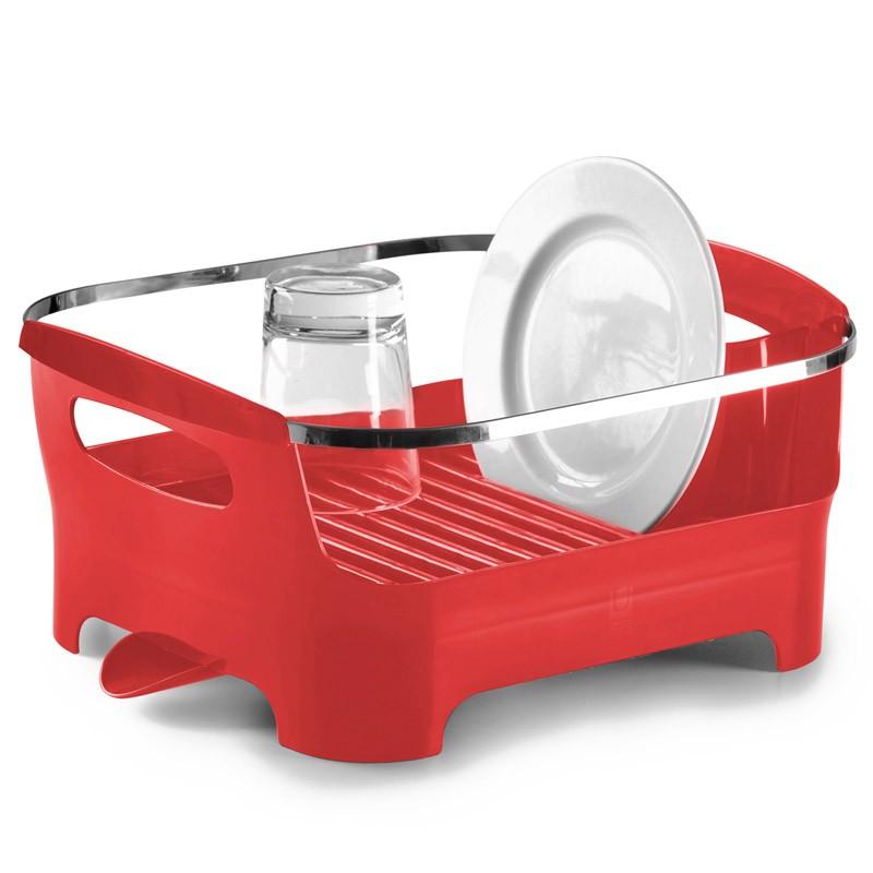 Красная сушилка для посуды Basin белая