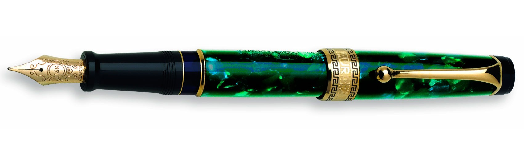 Зеленая перьевая ручка с позолотой Aurora Optima