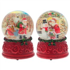 Декоративная фигурка в стеклянном шаре с музыкой Санта