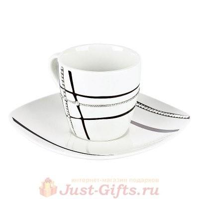 Чайная пара Клетка белая