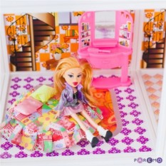 Трехэтажный кукольный дом с куклами в наборе