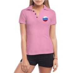 Розовая женская футболка поло Анжела