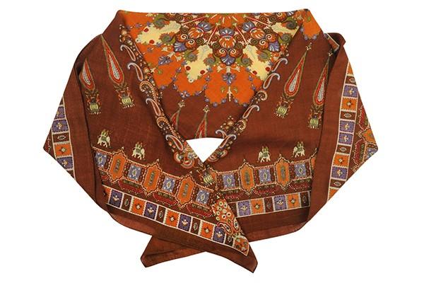 Коричневый женский платок Fabretti (шерсть)