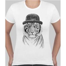 Женская футболка Тигр в шляпе