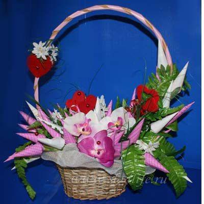 Букет из конфет Орхидеи с сердечками