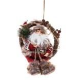 Новогоднее украшение Дед Мороз на венке с подарками