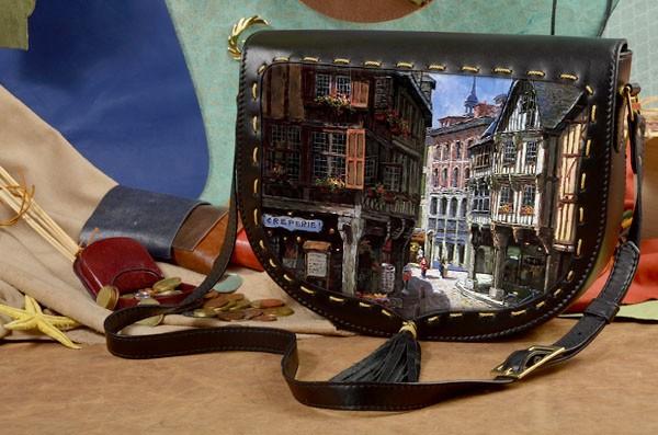 Женская сумка-седло Уютная улочка
