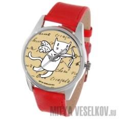 Часы Mitya Veselkov Кот-амур с луком красного цвета