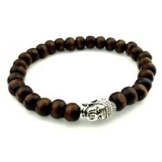 Коричневый деревянный браслет с головой Будды