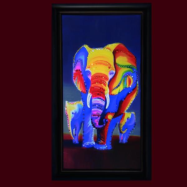 Картина Сваровски Семья слонов