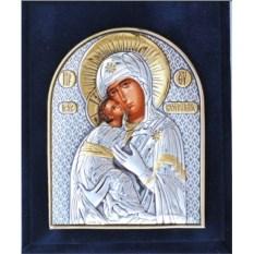 Серебряная икона в футляре Владимирская Божья Матерь