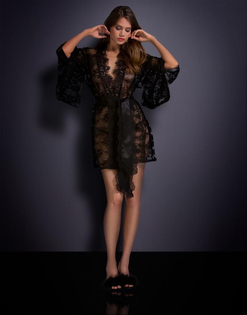 Черное кружевное кимоно Matinee