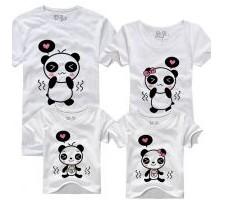 Двухсторонние семейные футболки Влюбленные панды