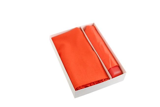 Подарочный набор из палантина и складного зонта, рыжий