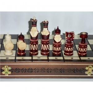 Деревянные резные шахматы Богатыри