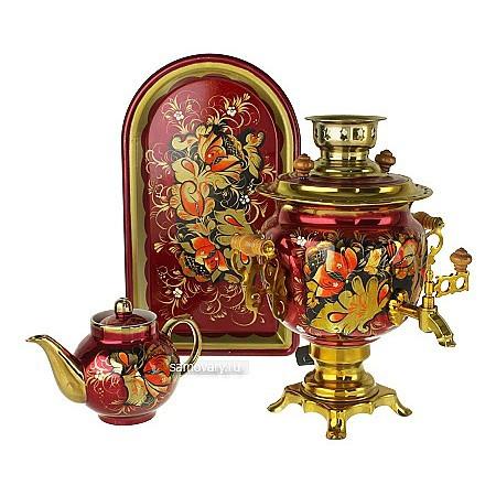 Набор с росписью Золотые цветы на бордовом фоне
