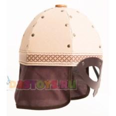 Детский шлем богатыря с полумаской (картон, текстиль)
