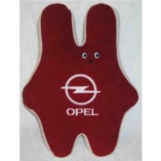 Бордовая подушка-заяц Opel с белой вышивкой