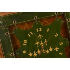 Часы из кожи Самолеты (зеленый)