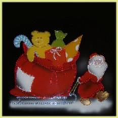 Картина Swarovski «Новогодний подарок и Дед Мороз»