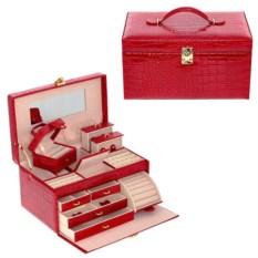 Красный набор из футляра для ювелирных изделий и шкатулки