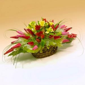 Кокетка. Букет из конфет с цветами