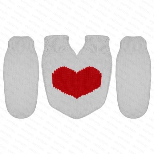 Комплект Варежки для влюбленных, красное сердце