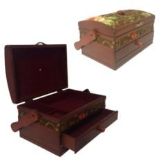 Деревянная шкатулка для рукоделия, размер 26,5х19х14 см