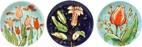 Настенная тарелка Цветы, в ассортименте