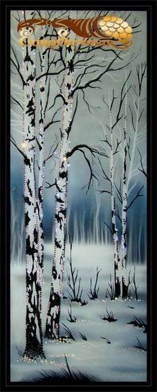 Картина Swarovski Русские березки, 3350 кристаллов, 100х40 см