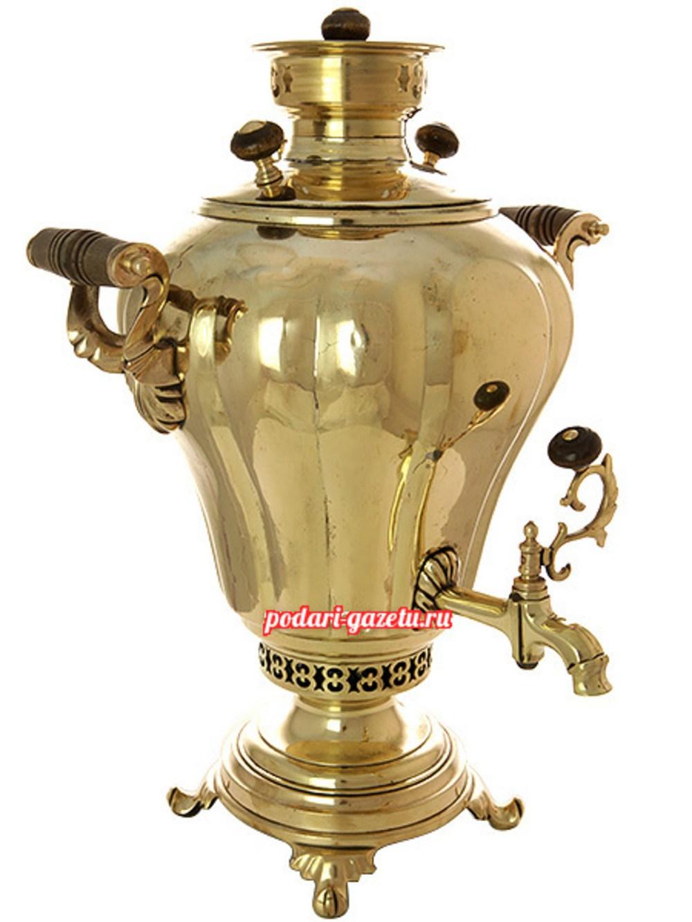 Угольный самовар (жаровой, дровяной) (7 литров) желтый груша с гранями