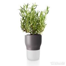 Серый горшок для растений с функцией самополива d11см