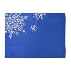 Синяя декоративная салфетка Снежинки