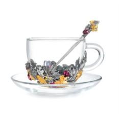 Набор чашка с блюдцем и ложкой Земляничный рай