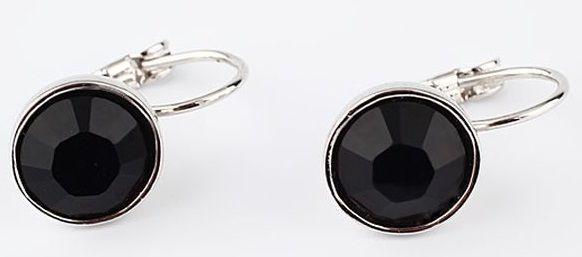 Серьги с кристаллом Swarovski Бриллиант черные