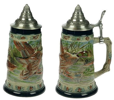 Пивная кружка коллекционная с крышкой Охота на дичь