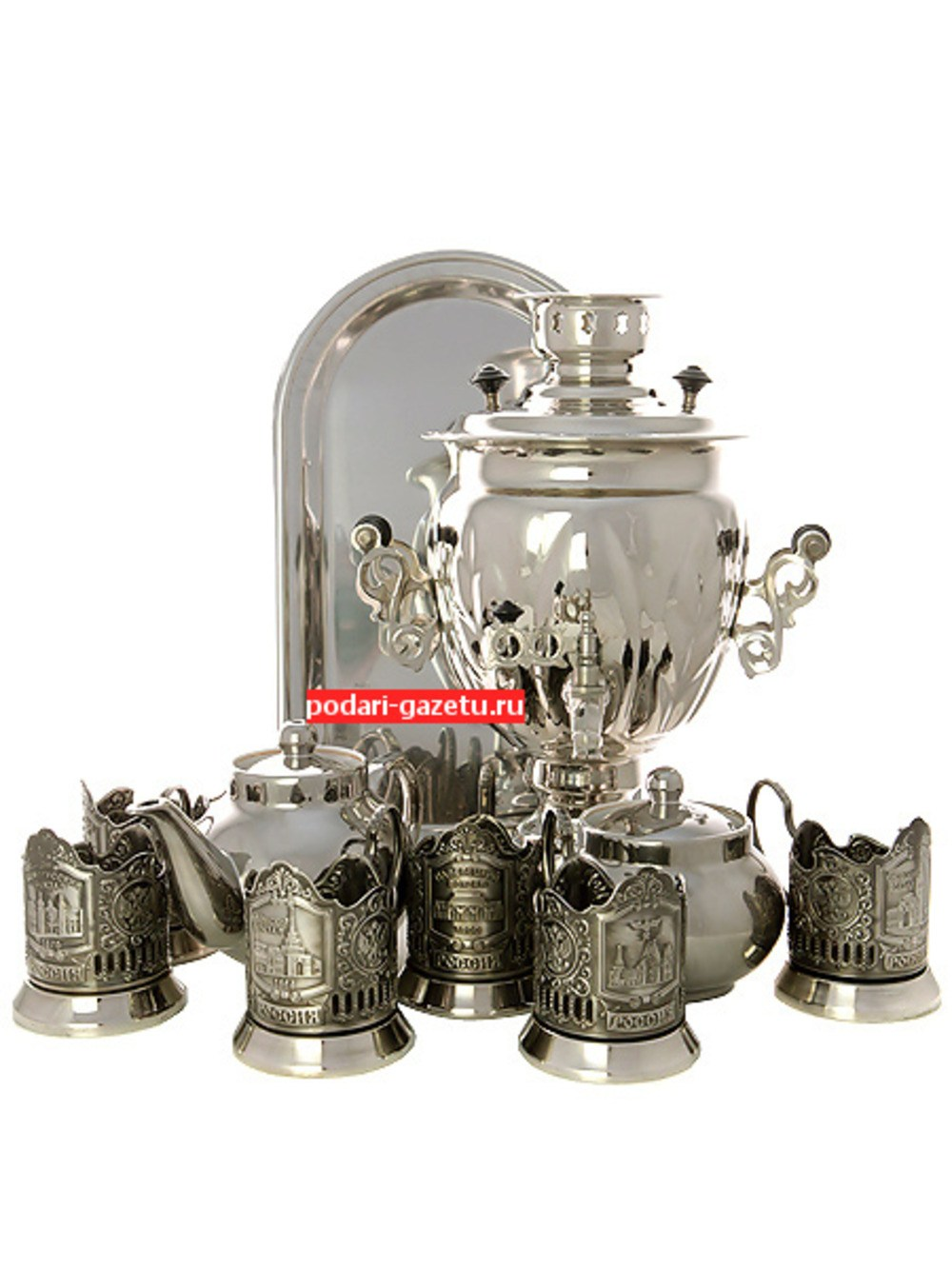 Набор Серебряная фантазия: самовар электрический на 3 литра никелированный с подстаканниками Вокзалы Москвы