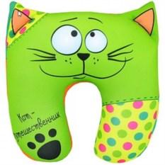 Зеленая подушка-антистресс под шею Кот путешественник