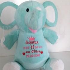 Мягкая именная игрушка Мятный слоник