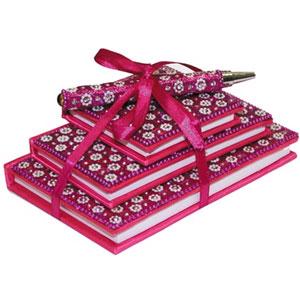 Набор: 3 блокнота и ручка, розовый