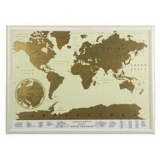 Скретч-карта мира в рамке бежевого цвета