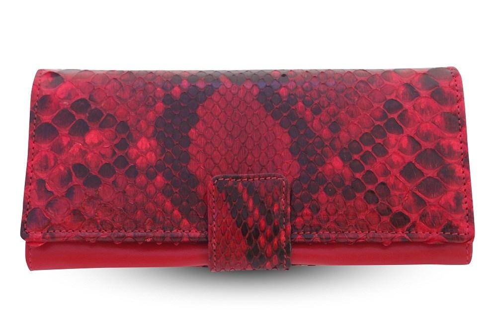 Женское красное портмоне из кожи питона на хлястике