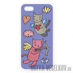 Чехол для IPhone 5 Коты-амуры на сиреневом