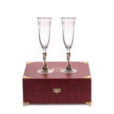 Бокалы для шампанского в шкатулке Вишня