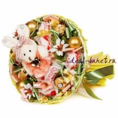 Букет конфет с зайкой Зимняя Ева